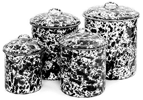 Enamelware 4 Piece Canister Set - Black Marble by Crow Canyon Home