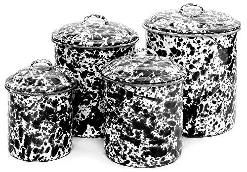 Enamelware 4 Piece Canister Set - Black (Enamelware Canister)