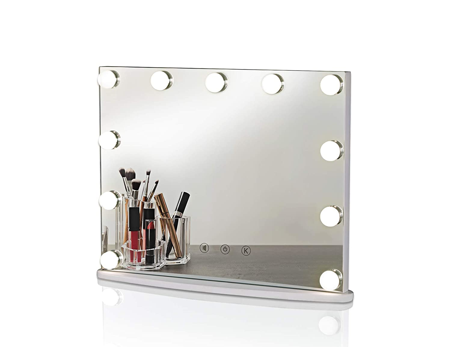 LUXFURNI Hollywood Tabletop Makeup Mirror w/USB-Powered Dimmable Light, Touch Control, Cold/Warm Light (M)