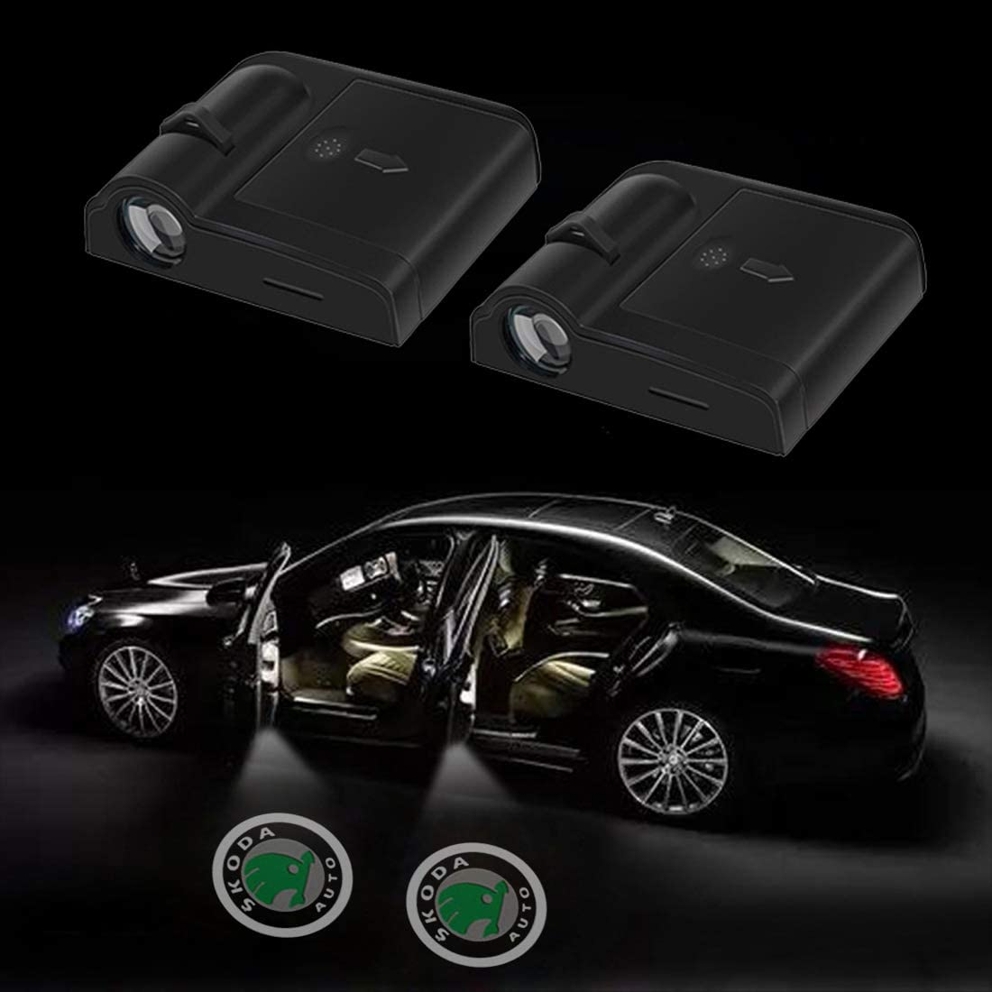 2 Pcs Wireless Car Door Led Welcome Laser Projector Logo Light Ghost Shadow Light Lamp Logos Kit fit for Volkswagen