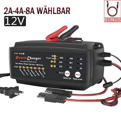 Batería de automóvil de 12 V Cargador de goteo 2/4 / 8A 7 etapas ...