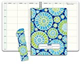 Hardcover Combination Plan and Record Book: One Efficient 8.5' x 11' Book for Lesson Plans & Grades Combines W101 and R1010 (PR7-10) (+) Bonus Clip-in Bookmark (Blue Green Flowers)