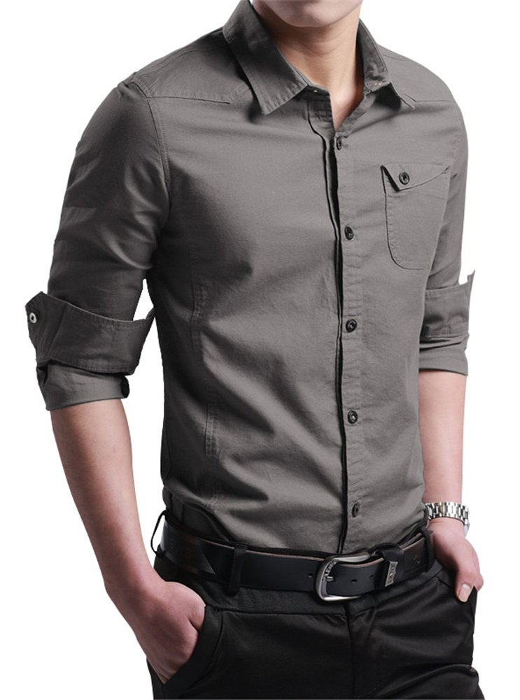 (エックスタパン) XTAPAN メンズ コットン製長袖ボタンダウンドレスシャツ カジュアル スリムフィット B01MRG83VD 5L|Navry Grey Navry Grey 5L