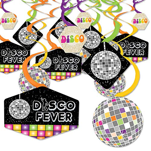 70's Disco - 1970s Disco Fever Party Hanging Decor - Party Decoration Swirls - Set of 40 -