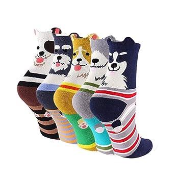 KANKOO Calcetines de algodón Patrón de Perro casero Calcetín Cómodo Lindo Calcetines de Tubo Medio para