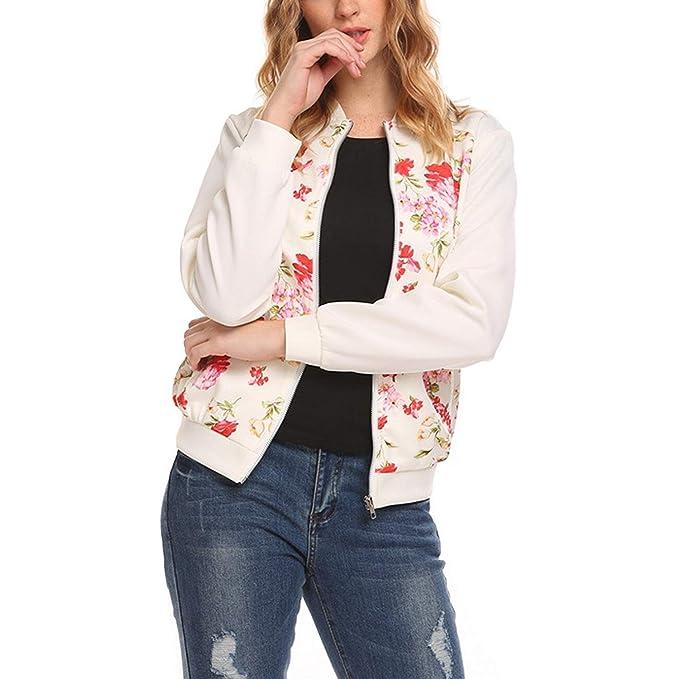 Chaquetas Bomber Mujer Vintage Fashion Floreadas Primavera Otoño Outwear Joven Elegantes con Cremallera Stand Cuello Manga Larga Chic Hipster Chaqueta De ...