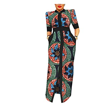 4a4234045db62 African Ankara Print Women Dress Tailor Made Half Puff Sleeve Floor Length  100% Batik Cotton