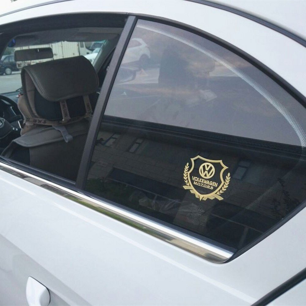 Wallner Silver Fender Side Car Styling metal car windows sticker logo stickers car side sticker for VW 2.36inch X2.17inch, Silver