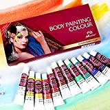 DFUNNY Face Paint Kit,12 Colors Professional Face Painting, Non-Toxic Body Paint Halloween Makeup, Rich Pigment, Face Painting Kits for Kids Art for Party Halloween Body Decorate
