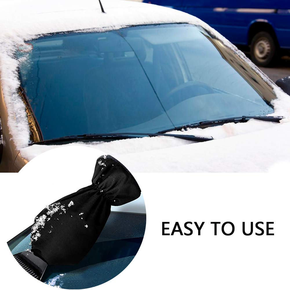 Ice Scraper Mitt Glove Car Windshield Snow Scrapers with Gloves Winter Car Care Tool Thick Fleece Blue/& Black Pack of 2
