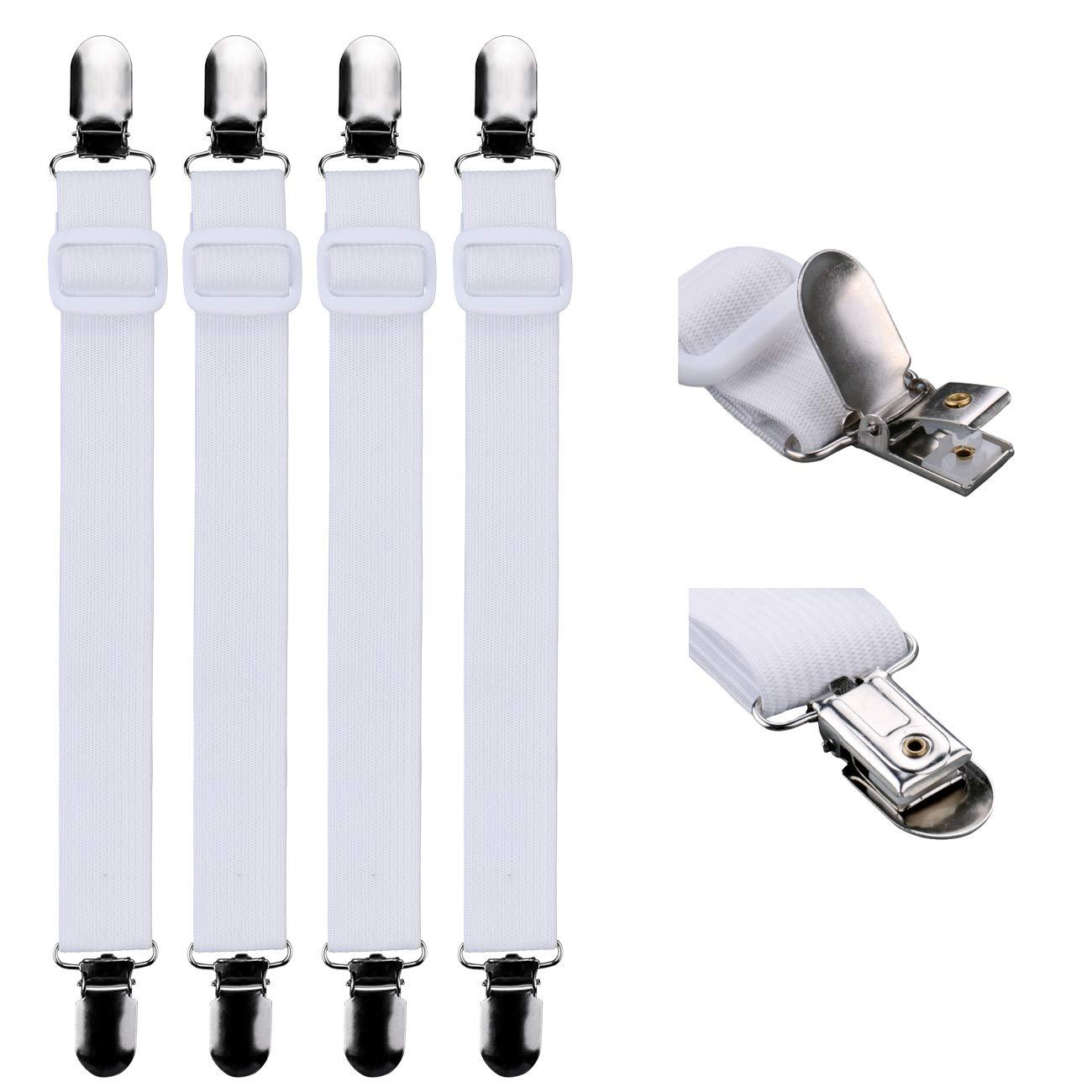 Luxbon 4Pcs Blanco Sujetadores de Sábana Ajustables Clips de Lámina Tirantes Sabanas Elásticos Correas Sostenedores Pinzas para Sábanas de Sofá Fundas de Colchón