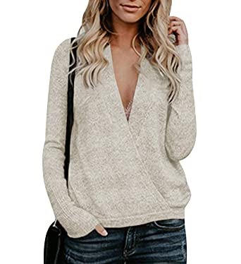 1b2f85ae3a777 Pull Col V Femme Chandail Pull Maille Croisé Femme Oversize Tricot Pull  Torsadé Epais Maille Fine