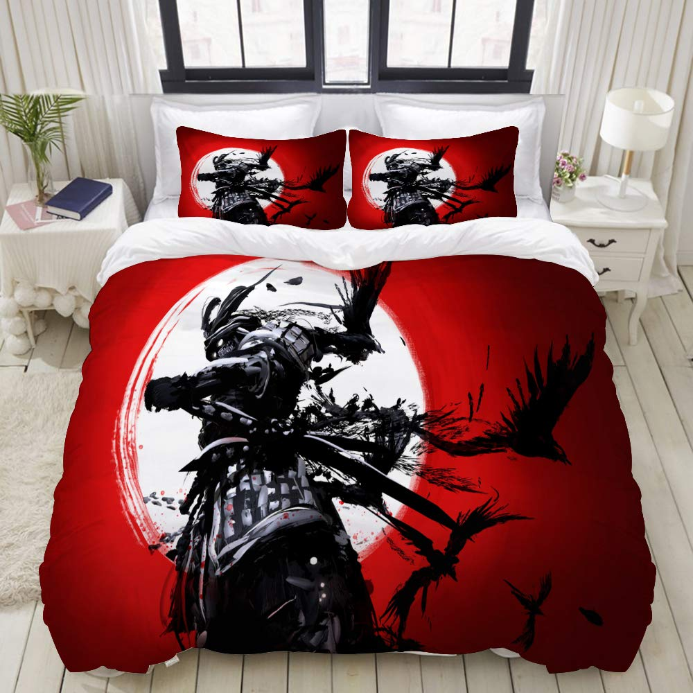 "Mokale Duvet Cover,Zipper Closure,Samurai Set Against Backdrop Bloody Sunset,3 Pieces Bedding Set with 2 Pillow Shams King Size(104""X90"")"