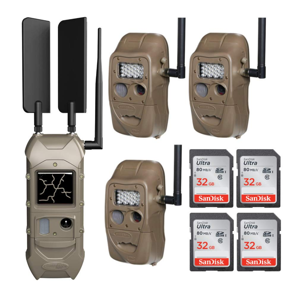 Cuddeback CuddeLink Starter Kit 3 + 1 Trail Camera Cellular Combo Pack and Set of 4 SD 32 GB Cards (5 Items) by Cuddeback