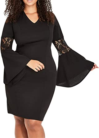 Women Long Sleeve Embroidered Spliced Bodycon Dress Cocktail Party Dress