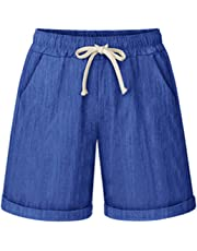 Vcansion Women's Drawstring Elastic Waist Shorts Plus Size Casual Shorts