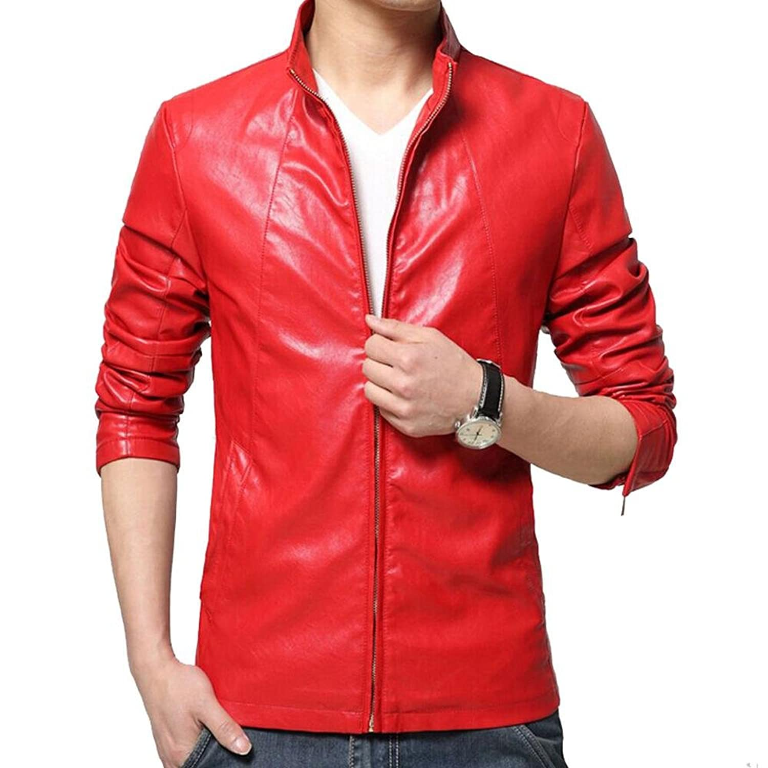 Hzcx Fashion Mens Stand Collar Washed Faux Leather Lined Casual Jackets