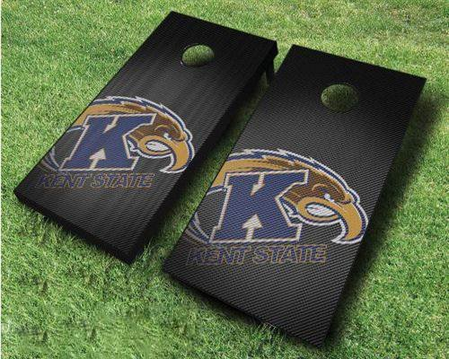 Kent State Slanted Cornhole Set, 2×4, Wood, Handmade, ACA Regulation, Portable, Includes 8 Bags