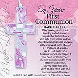The Grandparent Gift First Communion for Girl: Handmade Glass Cross, Pink