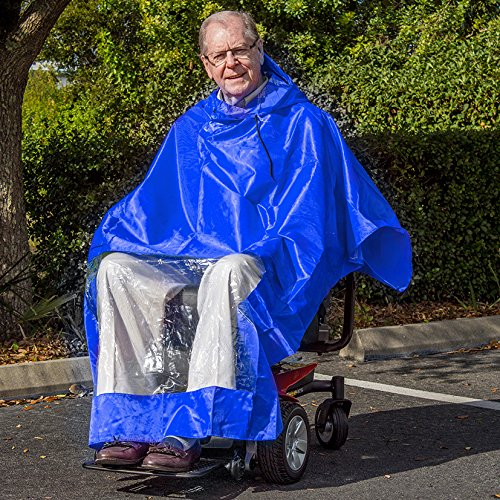 Challenger Rain Poncho Cape for Electric Mobility Scooter Rider - Blue