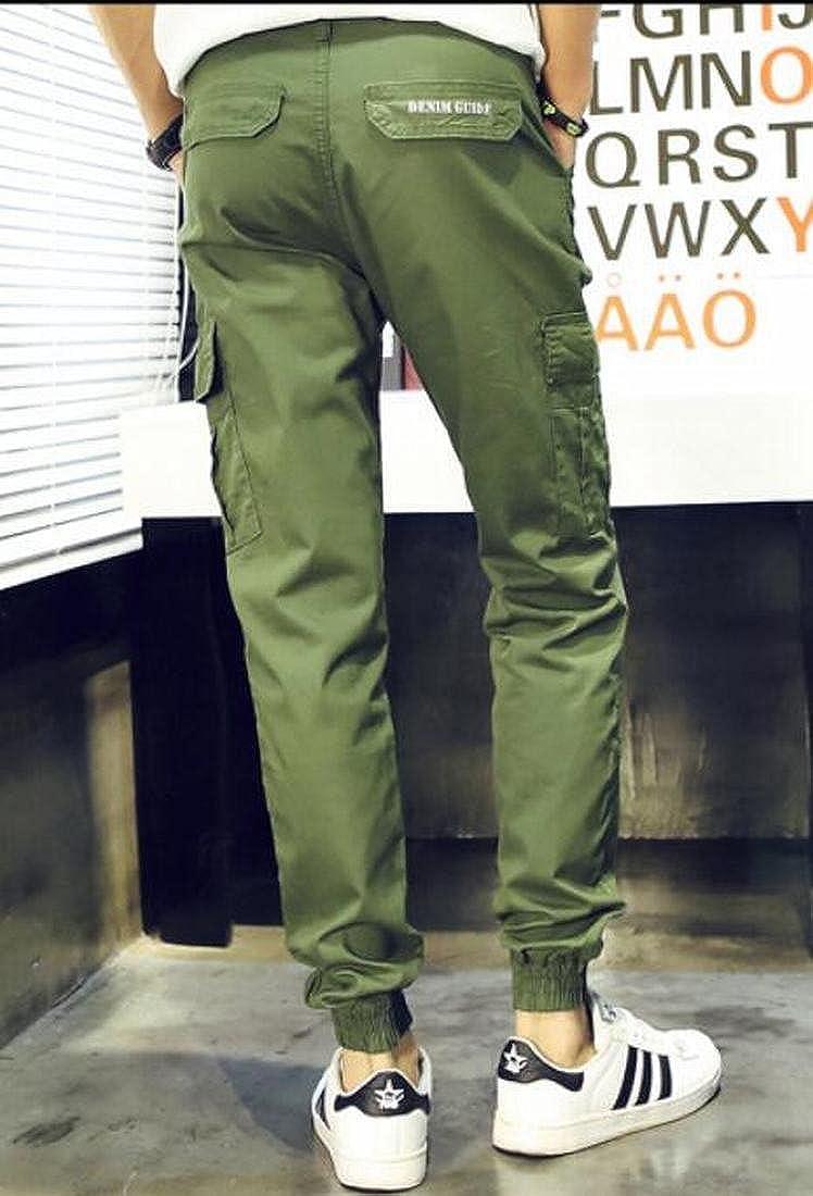Wofupowga Men Trousers Juniors Casual Cargo Multi Pockets Jogger Pants