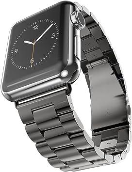 MPTECK @ 38mm negra Correa de Reloj Banda de Acero Inoxidable ...