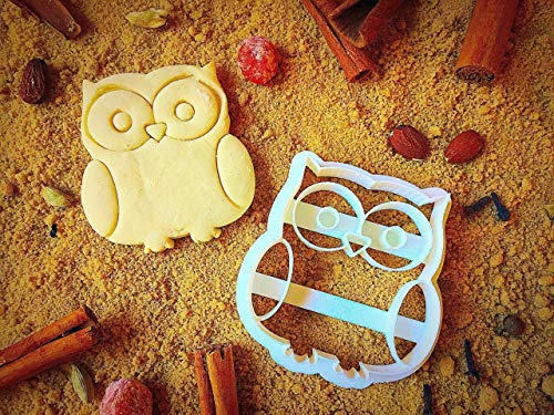 Owl Cookie Cutter for Funny Halloween -Eco Friendly Cute Shapes - Unique Jungle Animal Shaped Cookies - 3.0 inches - Kids Lunches Cutters by Sugary Charm for Fun Thanksgiving -