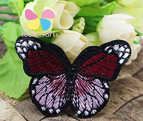 2Pcs 7 4Cm Multi Colors Options Butterfly Iron On Or Sew On Embroidered Applique Patches  Wine Red 2Pcs