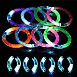 KAKOO 8 Pcs LED Flashing Bracelet With Extra Batteries Fun Colorful Light Up Bubble Bracelets For Weddings,Birthdays,Holidays,Concert Party Favors Kids Toys
