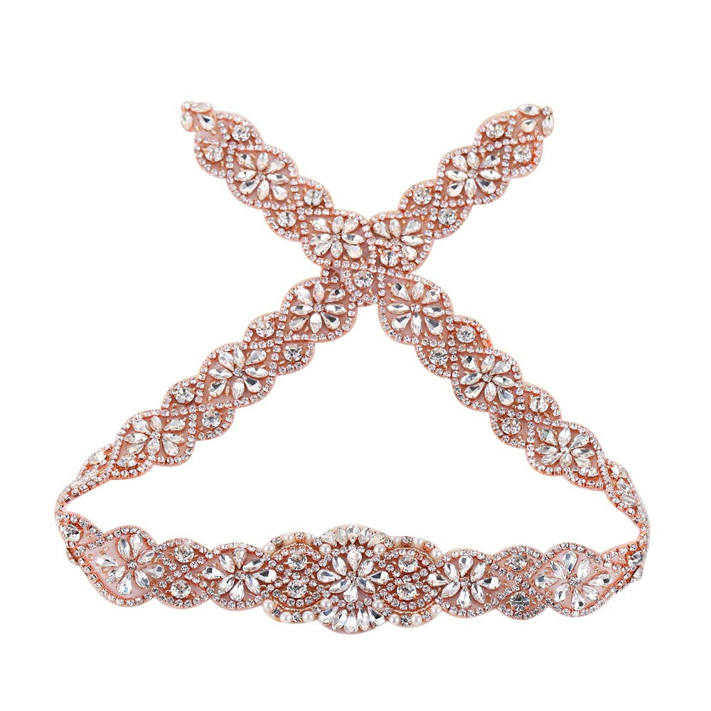 XINFANGXIU (2PCS) Wedding Sash Belt Applique, Crystal Rhinestone Applique Beaded Dacorations Handcrafted Sparkle Sewn or Hot Fix for Bridal Dresses Women Gown Evening Prom Clothes - Gold QRA-198