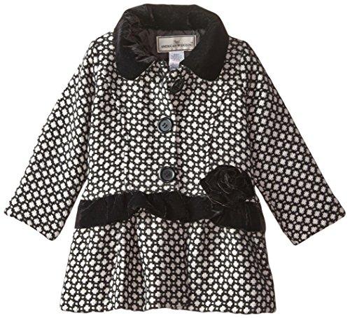 Widgeon Little Girls' Velvet Trim Coat, Basket Weave, 6 (Coat Velvet Trim)