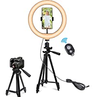 """PATIOSNAP 10"""" Selfie Ring Light with 50"""" Extendable Tripod Stand & Phone Holders, 3 Color Modes and 11 Brightness Ring…"""
