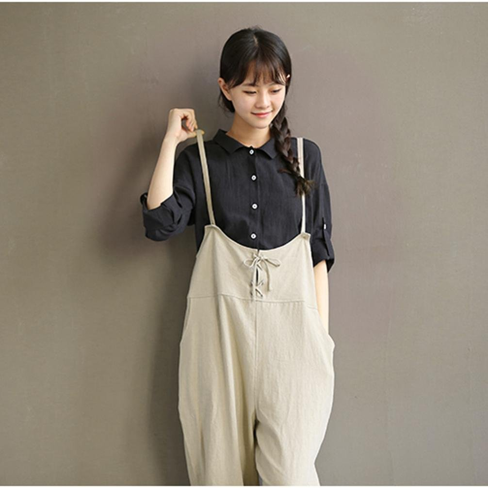 4818f79d56c Kingko® Women s Retro Loose Fit Casual Plus Size Baggy Overall Lace Up  Decor Jumpsuit Playsuit larger image