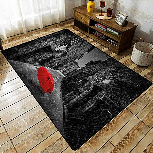 Rectangular Rug,Black and White,Red Umbrella on a Dark Narrow Street in Tuscany Italy Rainy Winter,Anti-Slip Doormat Footpad Machine Washable,4