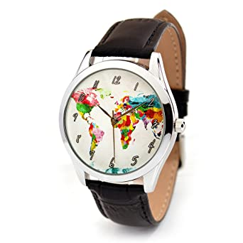 Amazon world map watch with leather band watercolor map watch world map watch with leather band watercolor map watch gift for traveler quartz gumiabroncs Gallery
