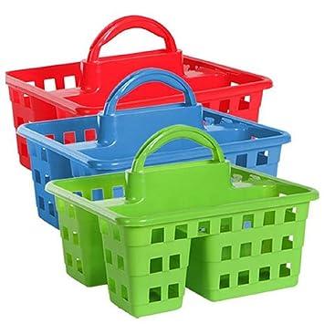 Amazon.com: Divided 3-Compartment Plastic Tote Caddies Baskets ...
