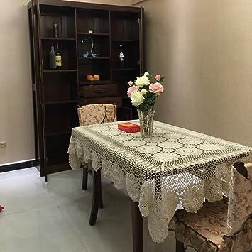 Yazi mantel de estilo vintage hecho a mano Crochet algodón toalla hueca para casa decoración de la sala de estar, beige, 110 x 180 cm: Amazon.es: Hogar