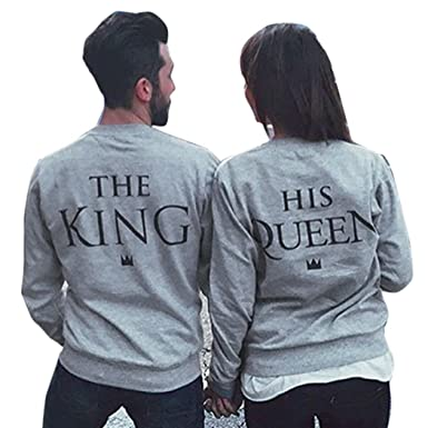 mymotto Femme et Homme King Queen Impression Couple Sweatshirt Amour  Correspondance Manches Longues Pullover Blouse Tops cb5a3bb73be8