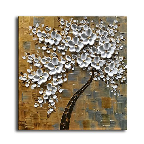 - Kate Art Paintings 3D White Flowers 100% Hand-painted Oil Painting Modern Home Decorations Wall Art Stretched Canvas for Living Room (24x24 inch, Framed Ready to Hang)