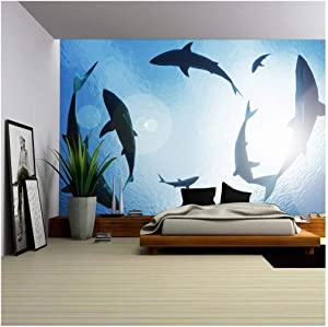 wall26 - School of Sharks Circling from Above - Removable Wall Mural   Self-Adhesive Large Wallpaper - 66x96 inches