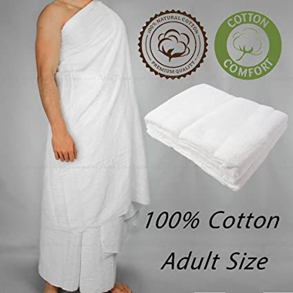 secure bag and belt 2 piece Towel Ihram Hajj Umrah Thick Quality Ehram White