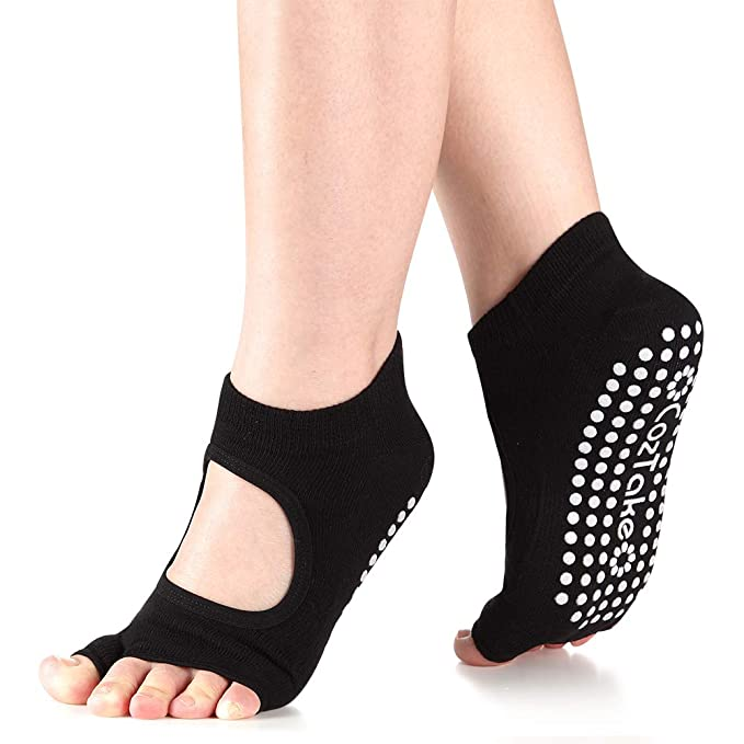 f86483d33ac Yoga Pilates Socks for Women with Grip   Non Slip Toeless Socks for Barre  Ballet(