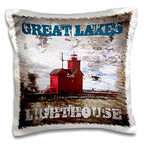 3dRose pc_174726_1 Great Lakes Lighthouse-Grunge Photograph Collage of Lighthouse-Pillow Case, 16 by 16