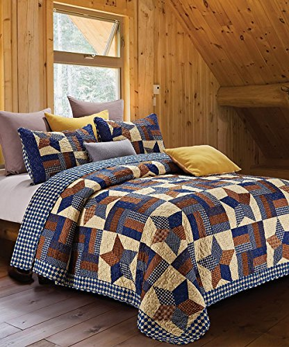 Rustic Blue and Brown Farmhouse Primitive Woodland Star 3pc King Quilt Set