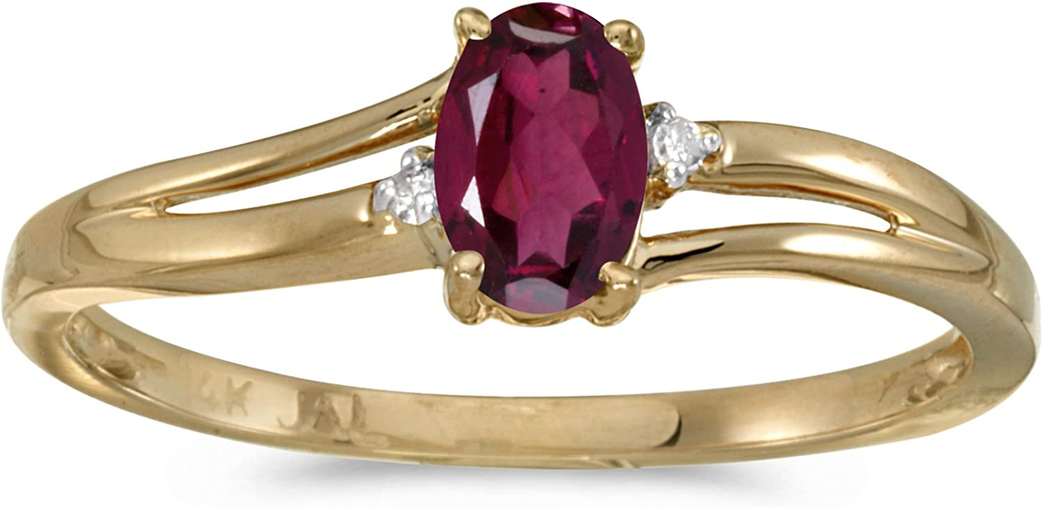 Jewels By Lux 14k Yellow Gold Genuine Birthstone Solitaire Oval Gemstone And Diamond Wedding Engagement Ring