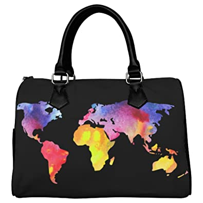 D-Story Custom Handbag Worldcolor World Map Handbag /Tote ... on map shirt, map shoes, map blouse, map wallet, map ipad case, map keychain, map phone case, map bathing suit, map suitcase, map jacket, map luggage,