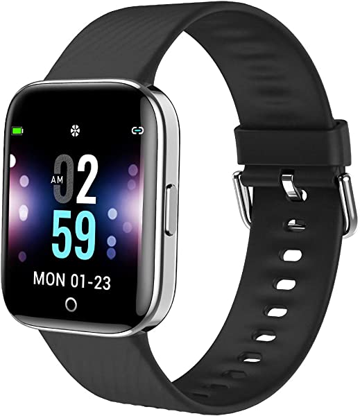 MBHB Youth Smart Watch, Indoor Sport Fitness Tracker, Dynamic Heart Rate Sleep Monitor Wristband for Men Women, Black