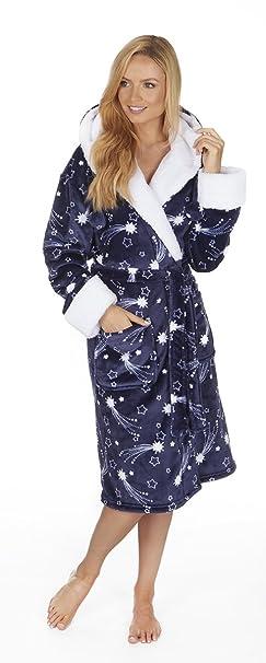 Forever Dreaming Mujer Polar Muy Suave Capucha Estampado Estrellas Bata Pijama - Azul Marino, Small