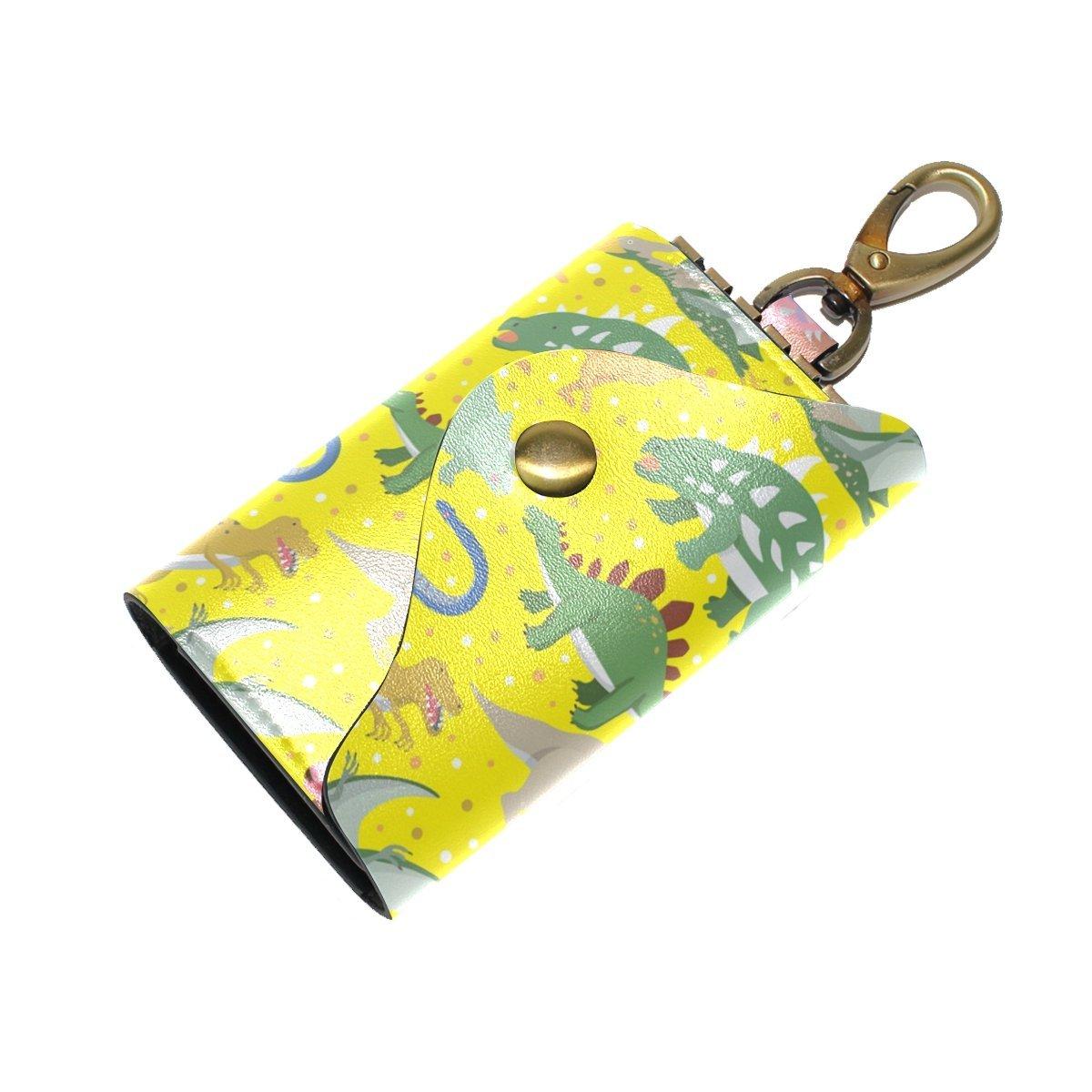 DEYYA Dinosaur Leather Key Case Wallets Unisex Keychain Key Holder with 6 Hooks Snap Closure