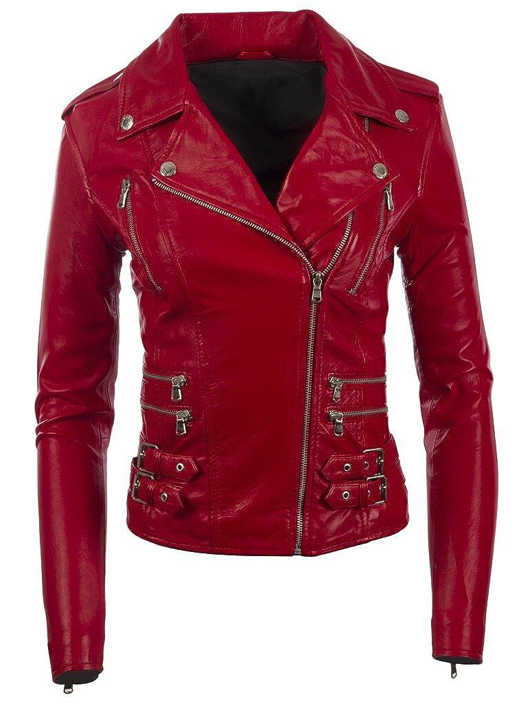 Aviatrix Women's Real Leather Cross-Zip Multi-Zip Biker Jacket (AGSM)
